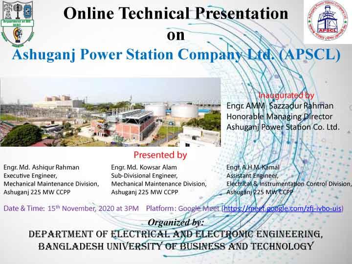 Online Technical Presentation on Ashuganj Power Station Company Ltd. (APSCL)