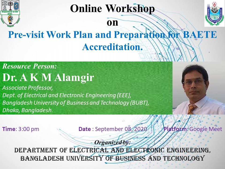 Onli8ne Workshop on Pre-visit Work Plan and Preparation for BAETE Accreditation.