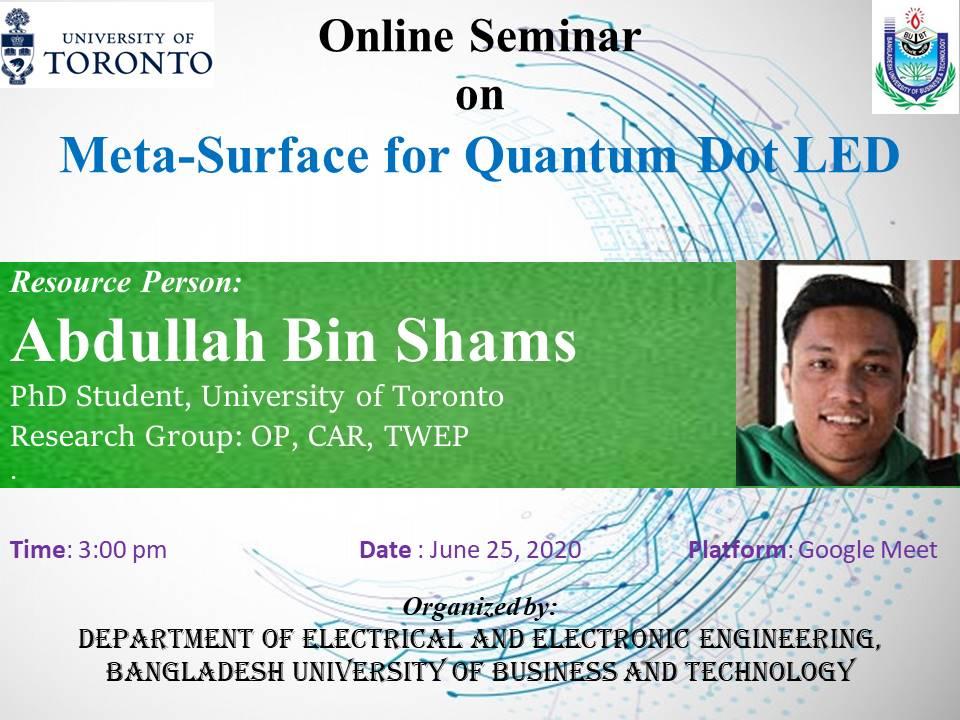 Online Seminar on Meta-Surface for Quantum Dot LED