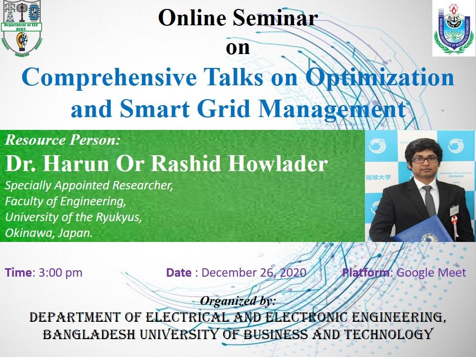 Comprehensive Talks on Optimization and Smart Grid Management.
